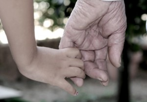 Hand of grandfather and grandson.